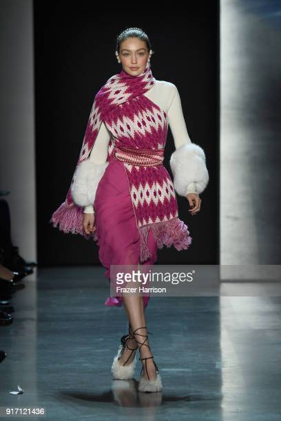 Gigi Hadid walks the runway for Prabal Gurung during New York Fashion Week The Shows at Gallery I at Spring Studios on February 11 2018 in New York...