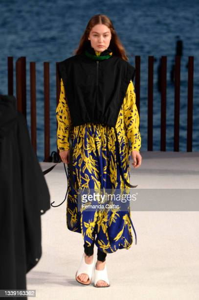Gigi Hadid walks the runway for Proenza Schouler during NYFW: The Shows on September 08, 2021 in New York City.