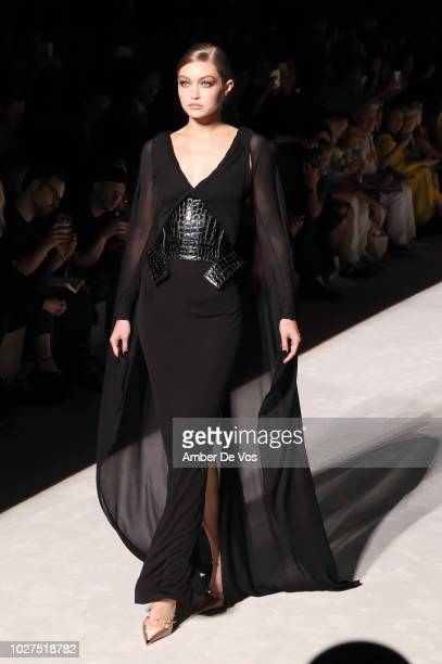 Gigi Hadid walks the runway Tom Ford SS19 Fashion Show at Park Avenue Armory on September 5, 2018 in New York City.
