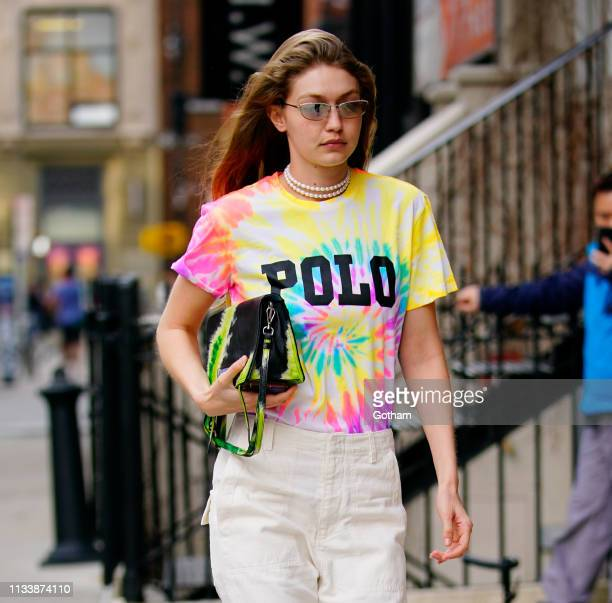 Gigi Hadid wears a tie-dyed shirt on March 30, 2019 in New York City.