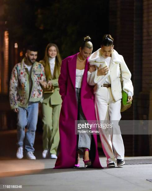 Gigi Hadid with Zayn Malik and Bella hadid and Dua Lipa seen out celebrating a birthday in Manhattan on January 11 2020 in New York City