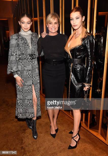 Gigi Hadid Yolanda Hadid and Bella Hadid attend V Magazine's intimate dinner in honor of Karl Lagerfeld at The Top of The Standard on October 23 2017...