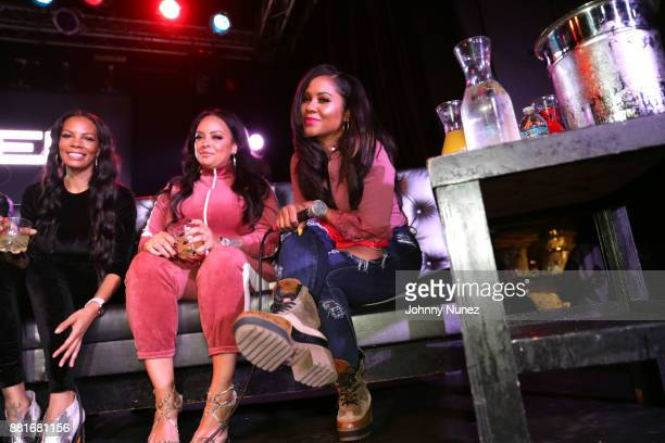 Gigi Maguire Lore'l and Angela Yee speak onstage during Angela Yee's Lip Service With TI at Highline Ballroom on November 28 2017 in New York City