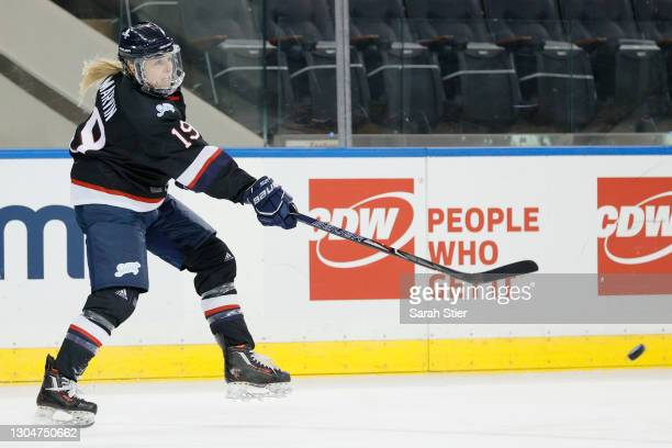 Gigi Marvin of Team Women's Sports Foundation passes the puck during the first period of the Dream Gap Tour against Team Adidas at Madison Square...