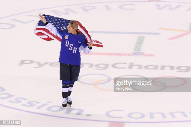 Gigi Marvin of the United States celebrates after defeating Canada in a shootout to win the Women's Gold Medal Game on day thirteen of the...