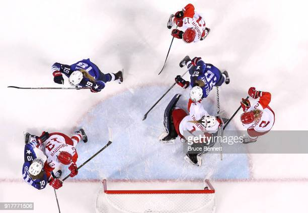 Gigi Marvin of the United States celebrates after scoring a second period goal against Valeria Tarakanova of Olympic Athlete from Russia during the...