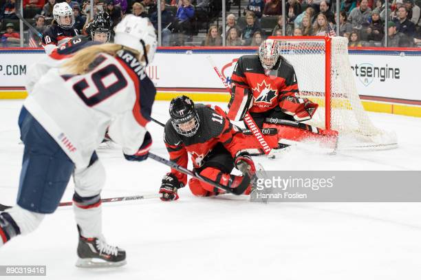 Gigi Marvin of the United States shoots the puck against Jillian Saulnier and goalie Shannon Szabados of Canada during the game on December 3 2017 at...