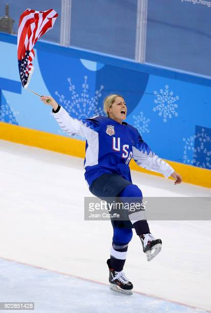 Gigi Marvin of USA celebrates the goal medal following the Women's Ice Hockey Gold Medal game final between USA and Canada on day thirteen of the...