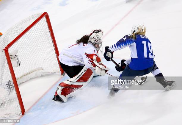 Gigi Marvin of USA scores during penalty-shot shootout of the Women's Ice Hockey Gold Medal game final between USA and Canada on day thirteen of the...