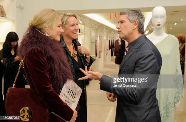 Gigi Mortimer and Courtney Moss speak with Vice President of Worldwide Public Relations for Valentino Carlos Souza during the 100 Unforgettable...