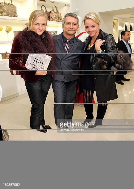 Gigi Mortimer Vice President of Worldwide Public Relations for Valentino Carlos Souza and Courtney Moss pose for a photo during the 100 Unforgettable...