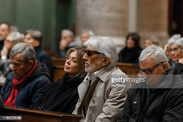 Gigi Proietti and an Actor Director cabaretist, dubber, television host during the Funeral of Antonello Falqui, director, author of television...