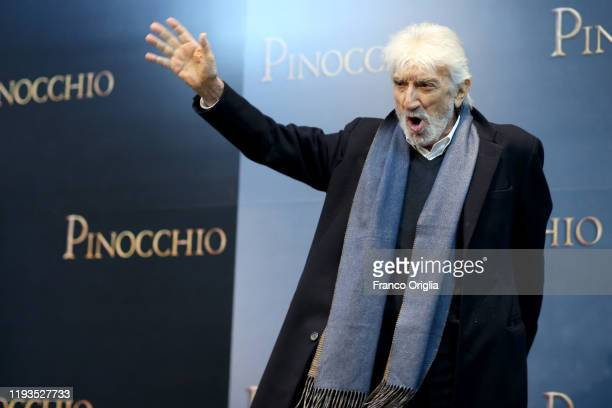 Gigi Proietti attends the photocall of the movie Pinocchio on December 12 2019 in Rome Italy