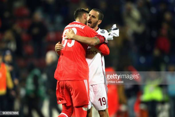 Gigio Donnarumma and Leonardo Bonucci of Milan celebrates a victory during the serie A match between Cagliari Calcio and AC Milan at Stadio Sant'Elia...