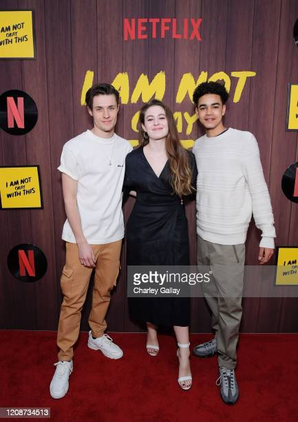 Gijs Blom Ruby Serkis and Amir Wilson attends the premiere of Netflix's I Am Not Okay With This at The London West Hollywood on February 25 2020 in...