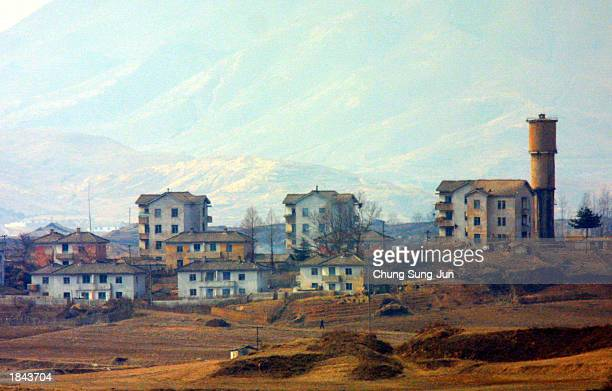 Gijungdong, a North Korean propaganda village, is seen from the border village Panmunjom, on the Demilitarized Zone , March 12, 2003 north of Seoul,...