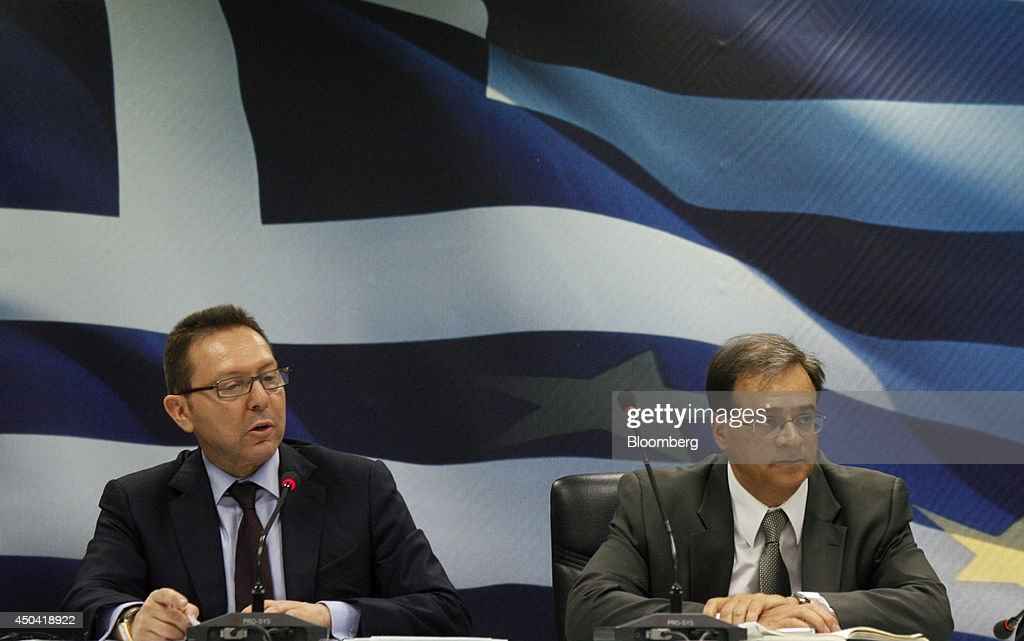 Greece's New Finance Minister Gikas Hardouvelis News Conference