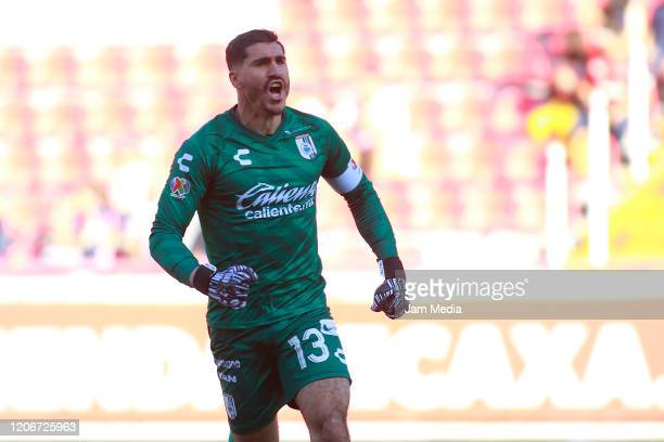 Gil Alcala of Queretaro celebrates after the first goal of his team during the 6th round match between Neaxa and Queretaro as part of the Torneo...
