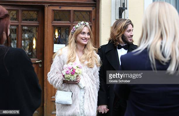 Gil and Verena Ofarim attend their wedding on December 15 2014 in Ismaning Munich Germany