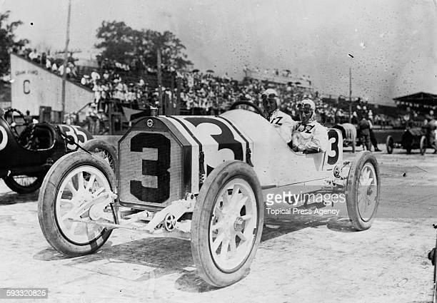 Gil Andersen of Norway with his riding mechanic aboard the Stutz Motor Company Stutz Bearcat racer before the start of the third running of the...