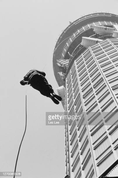 PC Gil Boyd abseils down the BT Tower in London to raise funds for Great Ormond Street Hospital 3rd June 1985 The hospital had recently treated his...