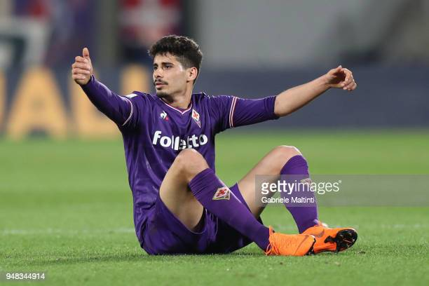 Gil Dias of ACF Fiorentina reacts during the serie A match between ACF Fiorentina and SS Lazio at Stadio Artemio Franchi on April 18 2018 in Florence...