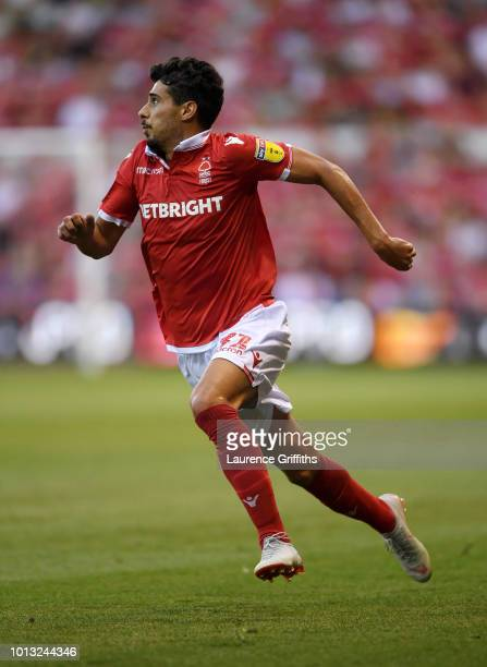 Gil Dias of Nottingham Forest in aaction during the Sky Bet Championship match between Nottingham Forest and West Bromwich Albion at City Ground on...