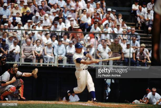 Gil Hodges of the Los Angeles Dodgers swings at a pitch during an MLB Spring Training game against the Milwaukee Braves circa March 1959 in Florida