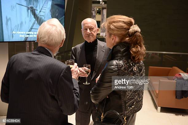Gil Maurer Norman Foster and Elena Ochoa Foster attend Building with History The Exhibit at Hearst Tower on November 17 2016 in New York City