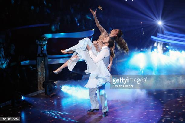 Gil Ofarim and Ekaterina Leonova perform on stage during the 6th show of the tenth season of the television competition 'Let's Dance' on April 28,...
