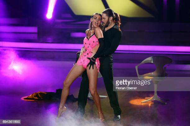 Gil Ofarim and Ekaterina Leonova perform on stage during the final show of the tenth season of the television competition 'Let's Dance' on June 9,...