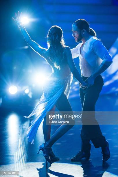 Gil Ofarim and Ekaterina Leonova perform on stage during the semi final of the tenth season of the television competition 'Let's Dance' on June 2...