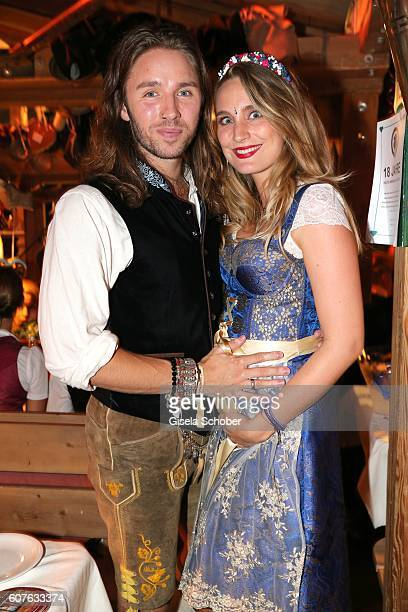 Gil Ofarim and his wife Verena Ofarim pregnant during the 'Almauftrieb' as part of the Oktoberfest 2016 at Kaeferschaenke beer tent on September 18...