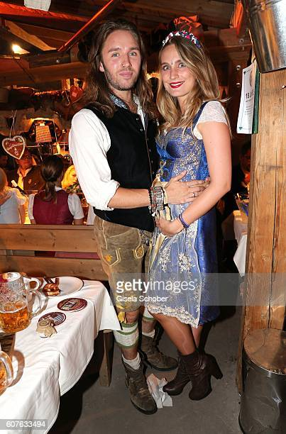 Gil Ofarim and his wife Verena Ofarim, pregnant, during the 'Almauftrieb' as part of the Oktoberfest 2016 at Kaeferschaenke beer tent on September...