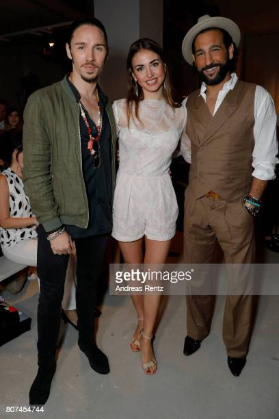 Gil Ofarim, Ekaterina Leonova and Massimo Sinato attend the Ewa Herzog show during the Mercedes-Benz Fashion Week Berlin Spring/Summer 2018 at...
