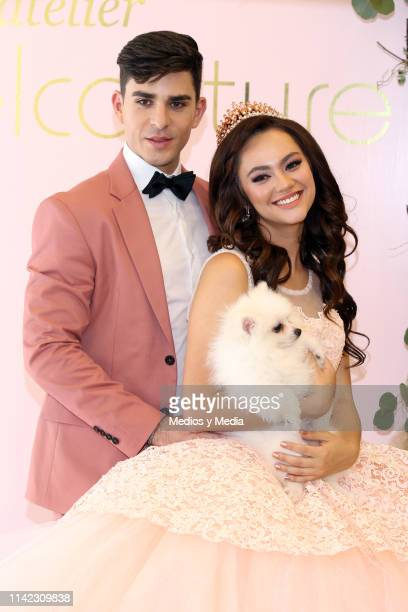 Gil Quijada and Alejandra Muller poses for photos during a photocall at Rafael Couture Boutique on April 12 2019 in Mexico City Mexico