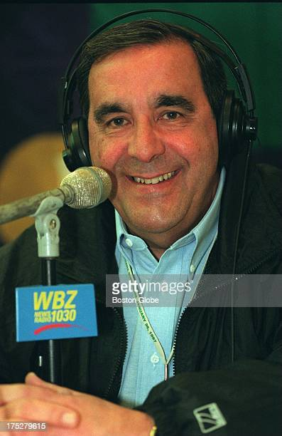 Gil Santos the voice of the New England Patriots at the WBZ radio booth at the Hyatt Hotel media center