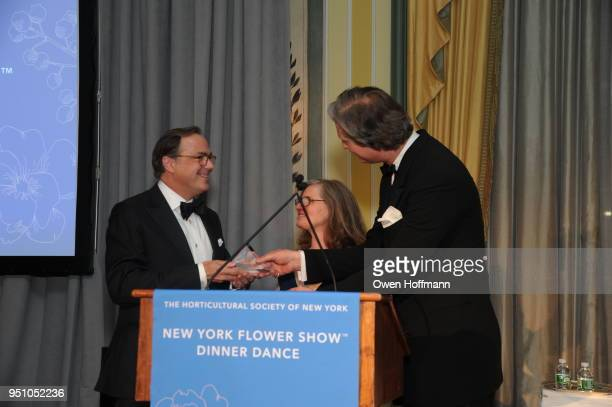 Gil Schafer Sara Hobel and Jared Goss attends The Hort's New York Flower Show Dinner Dance at The Pierre Hotel on April 24 2018 in New York City