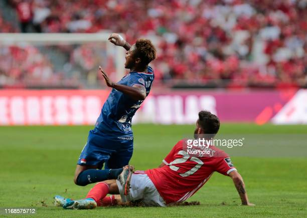 Gil Vicente FC Forward Baraye suffer foul during the Premier League 2019/20 match between SL Benfica and Gil Vicente FC at Luz Stadium in Lisbon on...