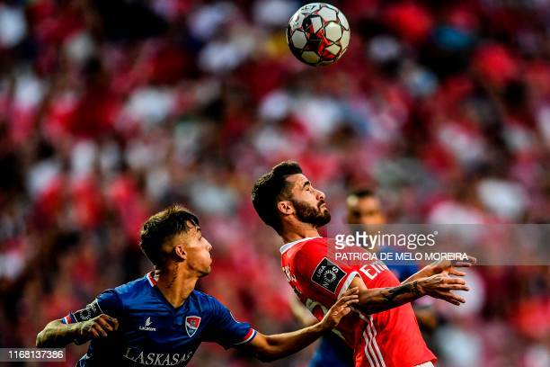Gil Vicente's Portuguese defender Fernando Fonseca vies with Benfica's Portuguese forward Rafa Silva during the Portuguese League football match...
