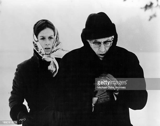 Gila Von Weitershausen follows Gustav Rudolf Sellner in a scene from the film 'The Pedestrian', 1973.