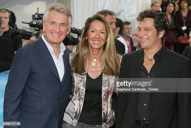 Gilbert and Nicole Coulier and French humorist Laurent Gerra at the premiere of Devil Wears Prada during the 32nd American Film Festival of Deauville