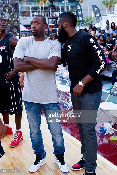 Gilbert Arenas and James Harden attended The Ball Up National Street Ball Tour at Nokia Plaza LA LIVE on June 21 2014 in Los Angeles California
