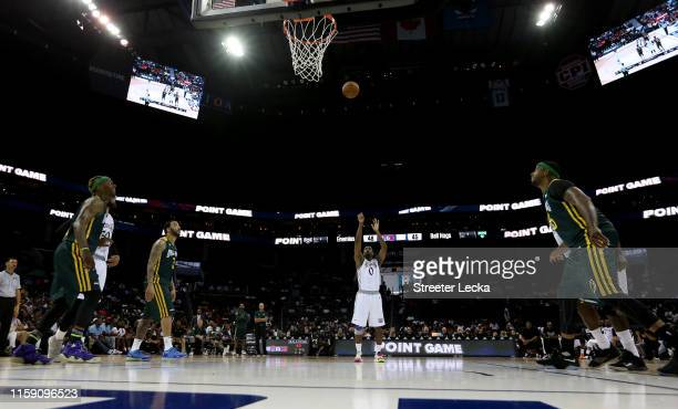 Gilbert Arenas of Enemies hits a game winning free throw to defeat the Ball Hogs 50-45 during week two of the BIG3 three on three basketball league...
