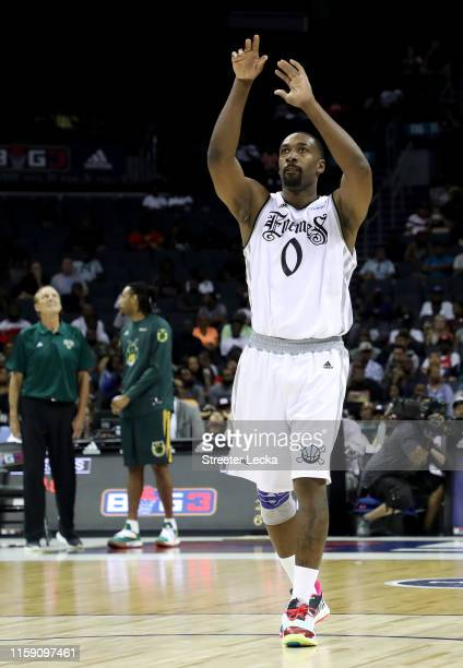 Gilbert Arenas of Enemies reacts against Ball Hogs during week two of the BIG3 three on three basketball league at Spectrum Center on June 29, 2019...