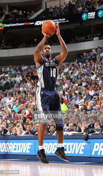 Gilbert Arenas of the Memphis Grizzlies goes for a jump shot during the game between the Memphis Grizzlies and the Dallas Mavericks on April 4 2012...