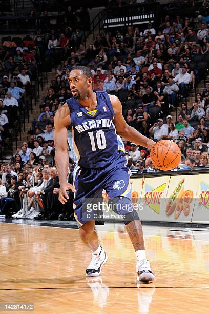 Gilbert Arenas of the Memphis Grizzlies moves the ball against the San Antonio Spurs on April 12 2012 at the ATT Center in San Antonio Texas NOTE TO...