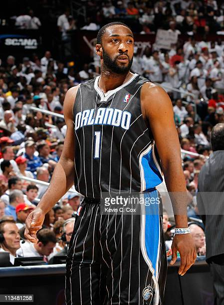 Gilbert Arenas of the Orlando Magic against the Atlanta Hawks during Game Four of the Eastern Conference Quarterfinals in the 2011 NBA Playoffs at...