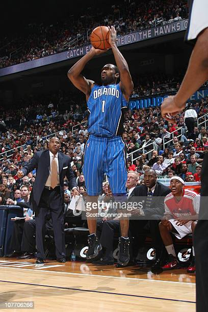Gilbert Arenas of the Orlando Magic shoots against the Atlanta Hawks on December 20 2010 at Philips Arena in Atlanta Georgia NOTE TO USER User...