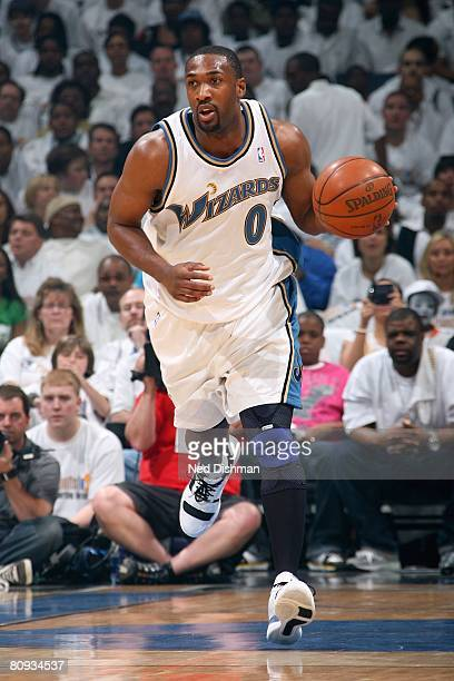 Gilbert Arenas of the Washington Wizards dribbles against the Cleveland Cavaliers in Game Three of the Eastern Conference Quarterfinals during the...